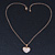 Pave Set Crystal Heart Pendant With Gold Tone Chain - 40cm Length - view 8