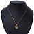 Pave Set Crystal Heart Pendant With Gold Tone Chain - 40cm Length - view 7