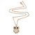 Crystal, Glittering Owl Pendant With Gold Tone Chain - 42cm Length - view 3