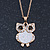 Crystal, Glittering Owl Pendant With Gold Tone Chain - 42cm Length - view 2