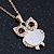 Crystal, Glittering Owl Pendant With Gold Tone Chain - 42cm Length - view 7