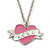 PINK COOKIE IN PURSE Enamel Heart Pendant With 42cm L/ 5cm Ext Rhodium Plated Chain