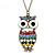 Oversized Multicoloured Enamel Owl Pendant With Long Bronze Tone Chain - 80cm Length