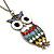 Oversized Multicoloured Enamel Owl Pendant With Long Bronze Tone Chain - 80cm Length - view 3