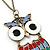Oversized Multicoloured Enamel Owl Pendant With Long Bronze Tone Chain - 80cm Length - view 4
