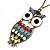 Oversized Multicoloured Enamel Owl Pendant With Long Bronze Tone Chain - 80cm Length - view 5
