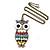 Oversized Multicoloured Enamel Owl Pendant With Long Bronze Tone Chain - 80cm Length - view 2