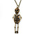 Crystal Skeleton Pendant With Long Bronze Tone Chain - 80cm Length
