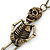 Crystal Skeleton Pendant With Long Bronze Tone Chain - 80cm Length - view 3