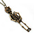 Crystal Skeleton Pendant With Long Bronze Tone Chain - 80cm Length - view 4