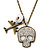 Crystal Skull, Plane Pendant With Long Bronze Tone Chain - 80cm L