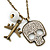 Crystal Skull, Plane Pendant With Long Bronze Tone Chain - 80cm L - view 2