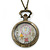 Antique Bronze Tone Eiffel Tower & Flower Motif Quartz Pocket Watch Pendant Necklace - 45mm D/ 80cm L - view 6
