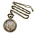 Antique Bronze Tone Eiffel Tower & Flower Motif Quartz Pocket Watch Pendant Necklace - 45mm D/ 80cm L - view 3