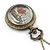 Antique Bronze Tone Big Ben & Roses Motif Quartz Pocket Watch Pendant Necklace - 45mm D/ 80cm L - view 8