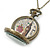 Antique Bronze Tone Big Ben & Roses Motif Quartz Pocket Watch Pendant Necklace - 45mm D/ 80cm L - view 2