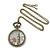 Antique Bronze Tone Big Ben & Roses Motif Quartz Pocket Watch Pendant Necklace - 45mm D/ 80cm L - view 3