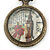 Antique Bronze Tone Big Ben & Roses Motif Quartz Pocket Watch Pendant Necklace - 45mm D/ 80cm L