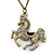 Long Vintage Inspired Crystal 'Horse' Pendant Necklace In Bronze Tone - 78cm Length