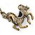 Long Vintage Inspired Crystal 'Horse' Pendant Necklace In Bronze Tone - 78cm Length - view 2