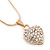 Gold Tone Crystal Heart Pendant With Snake Chain - 38cm Length/ 6cm Extension - view 8