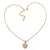 Gold Tone Crystal Heart Pendant With Snake Chain - 38cm Length/ 6cm Extension - view 7