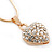 Gold Tone Crystal Heart Pendant With Snake Chain - 38cm Length/ 6cm Extension - view 2