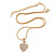 Gold Tone Crystal Heart Pendant With Snake Chain - 38cm Length/ 6cm Extension - view 3