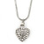 Silver Tone Crystal Heart Pendant With Snake Chain - 38cm Length/ 6cm Extension