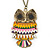 Oversized Multicoloured Enamel Owl Pendant with Long Burnt Gold Chain - 74cm L - view 1