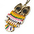 Oversized Multicoloured Enamel Owl Pendant with Long Burnt Gold Chain - 74cm L - view 4