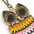 Oversized Multicoloured Enamel Owl Pendant with Long Burnt Gold Chain - 74cm L - view 6