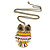 Oversized Multicoloured Enamel Owl Pendant with Long Burnt Gold Chain - 74cm L - view 3