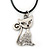 Clear Crystal Cat Pendant With Black Leather Cord In Burnt Silver Tone - 40cm L/ 4cm Ext