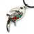 Multi Crystal Parrot Pendant With Black Leather Cord In Burnt Silver Tone - 40cm L/ 4cm Ext - view 6