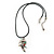 Multi Crystal Parrot Pendant With Black Leather Cord In Burnt Silver Tone - 40cm L/ 4cm Ext - view 2
