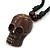 Unisex Acrylic Skull Pendant With Black Waxed Cotton Cord - Adjustable