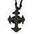 Unisex Acrylic Cross Pendant With Black Waxed Cotton Cord - Adjustable