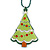Green Acrylic, Red Crystal 'Christmas Tree' Pendant With Dark Green Beaded Chain - 44cm L