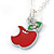 Tiny Red/ Green Apple Pendant with Silver Tone Chain - 40cm L - view 2