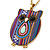 Funky Multicoloured Fabric with Acrylic Bead Owl Pendant, with Long Gold Tone Chain - 80cm L - view 8