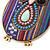 Funky Multicoloured Fabric with Acrylic Bead Owl Pendant, with Long Gold Tone Chain - 80cm L - view 7