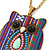 Funky Multicoloured Fabric with Acrylic Bead Owl Pendant, with Long Gold Tone Chain - 80cm L - view 3