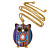 Funky Multicoloured Fabric with Acrylic Bead Owl Pendant, with Long Gold Tone Chain - 80cm L - view 4