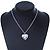 Medium Silver Tone Heart with Rose Motif Locket Pendant - 44cm L/ 6cm Ext - view 2