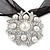 White Glass Pearl, Clear Crystal Flower Pendant With Black Organza Ribbon In Silver Tone - 44cm L/ 7cm Ext - view 2