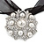 White Glass Pearl, Clear Crystal Flower Pendant With Black Organza Ribbon In Silver Tone - 44cm L/ 7cm Ext - view 6