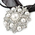 White Glass Pearl, Clear Crystal Flower Pendant With Black Organza Ribbon In Silver Tone - 44cm L/ 7cm Ext - view 4