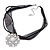 White Glass Pearl, Clear Crystal Flower Pendant With Black Organza Ribbon In Silver Tone - 44cm L/ 7cm Ext - view 7