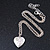 Small Silver Tone Heart with Double Heart Motif Locket Pendant - 40cm L/ 7cm Ext - view 3